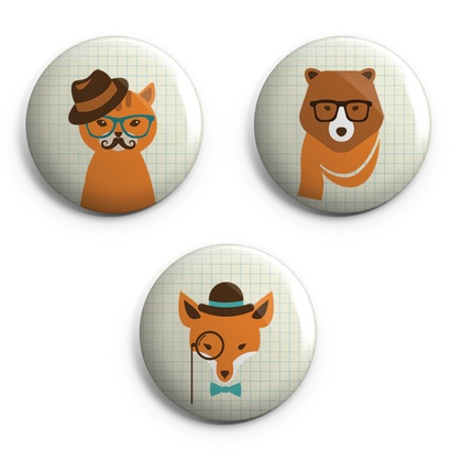 Set of 3 Hipster Animal Magnets
