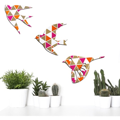 Tessellate Gold, orange & Pink  Birds Wall Art  - Set of 3 flying birds