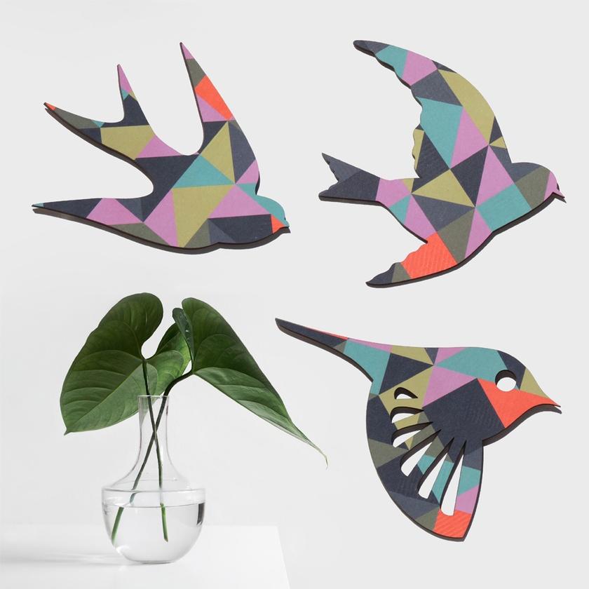 Geometric TangramsBird Wall Art - Set of 3 flying birds in silhouette