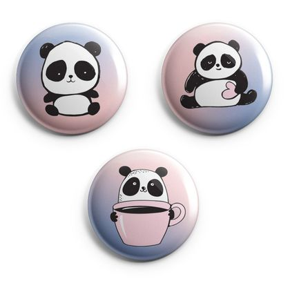 Set of 3 Illustrated Panda Magnets