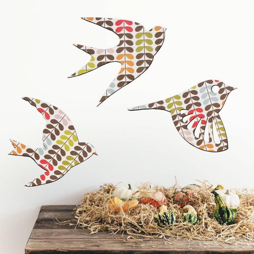 Orla Kiely Flock of Birds Wall Art - Set of 3 flying birds in silhouette