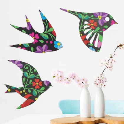 Hungarian Folk Art Wall Art  - Set of 3 flying birds