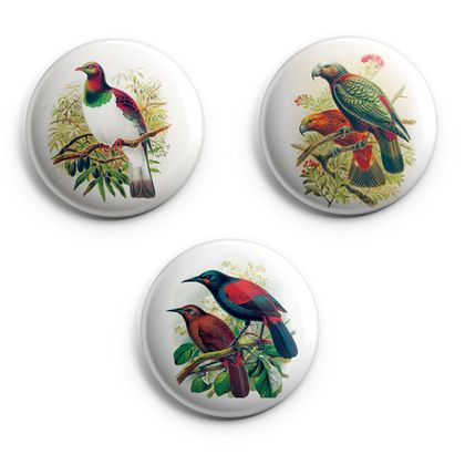 buller's birds of new zealand Magnets, featuring Kereru, Saddleback, Kaka & Kaka-kura