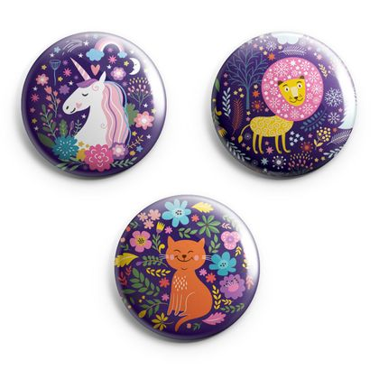 Set of 3 Illustrated Magical Animal Magnets