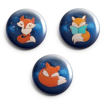 Midnight Foxes Mini Magnets