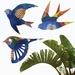 Trio of NZ Native birds Wall Art - Midsummer Field abstract watercolour pattern