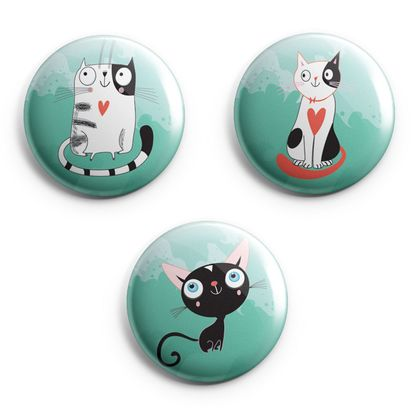 mini Magnets - clowder of cats