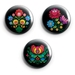 Mini Magnets - Set of three Folk Art Flowers