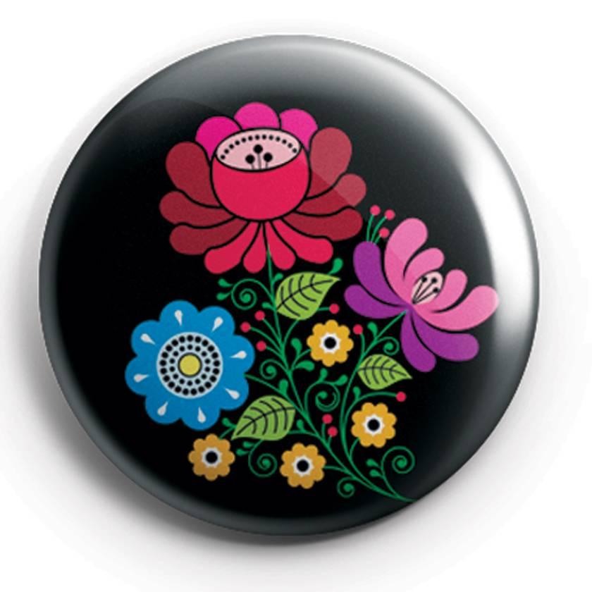 Mini Magnets - Set of three Folk Art Flowers