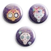 Spooky Cute Embellished skulls  Set of 3 mini magnets