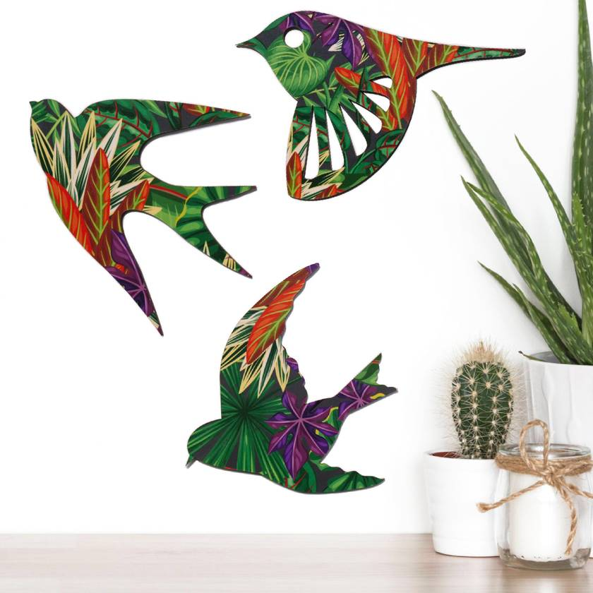 NZ Birds Wall Art In flax pattern  - Set of 3 flying birds