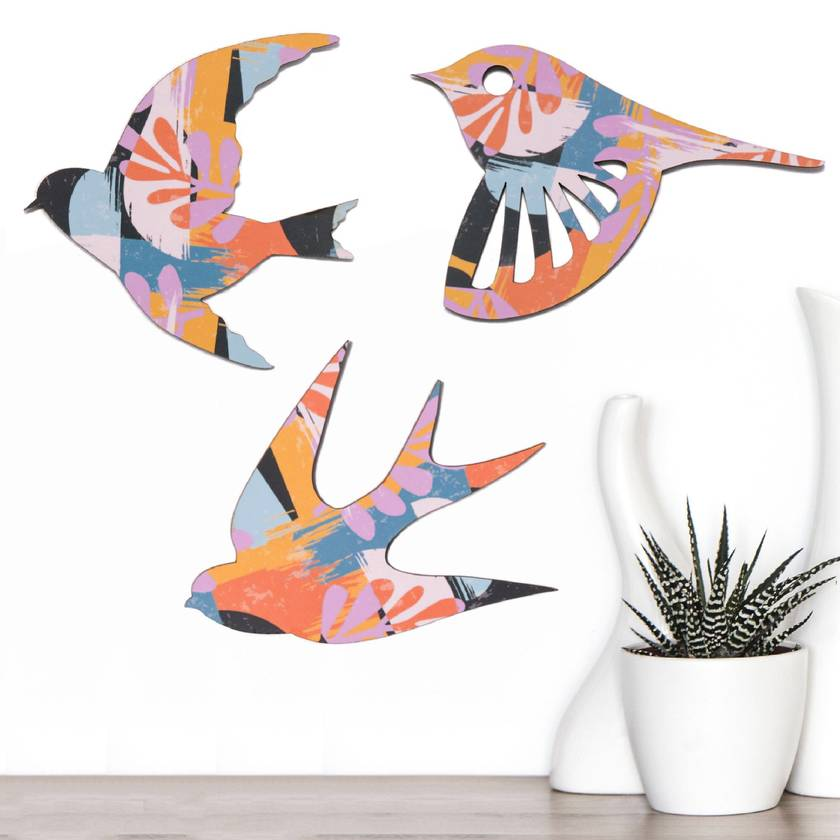 NZ native Birds Wall Art In rose quartz inspired pattern   - Set of 3 flying birds