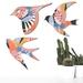 NZ native Birds Wall Art In rose quartz inspired pattern   - Set of 3 flying birds