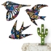 NZ native Birds Stained Glass Sunset pattern   - Set of 3 flying birds
