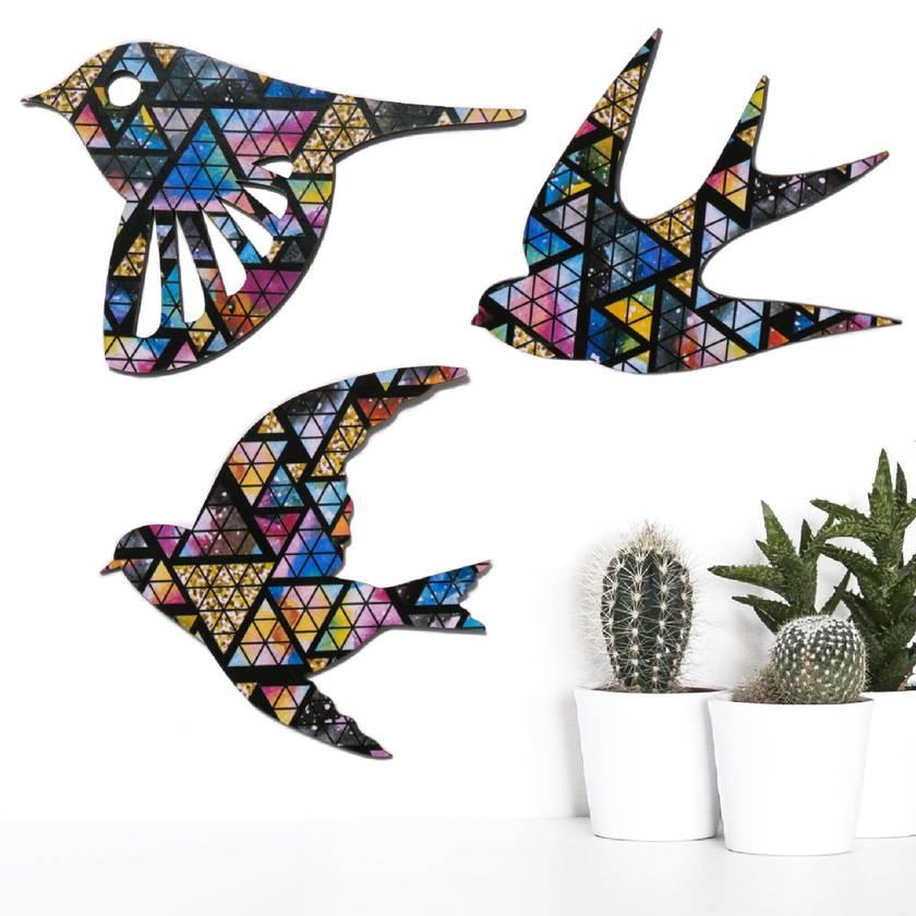 NZ native Birds Stained Glass Sunset pattern   - Set of 3 flying birds