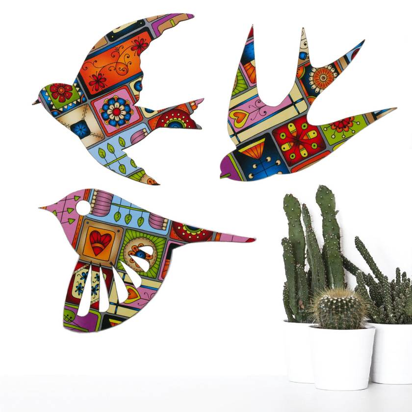 Floral Patchwork  Native Bird Wall Art  - Set of 3 flying birds in Patchwork pattern