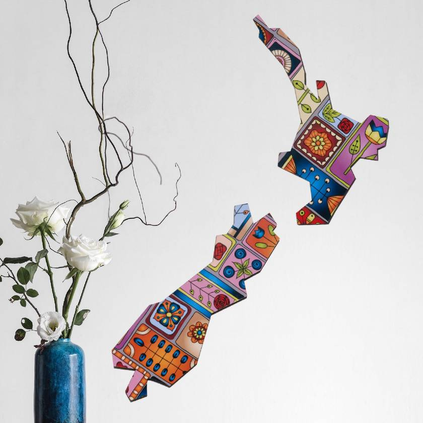 aotearoa nz Wall Art  - Set of 3 flying birds in Patchwork pattern