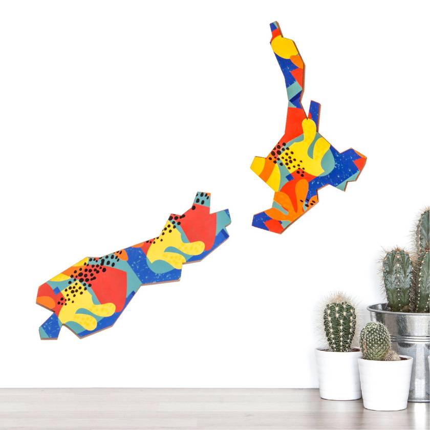 Leopard Island  Aotearoa NZ Map in Navy blue, Orange and  yellow
