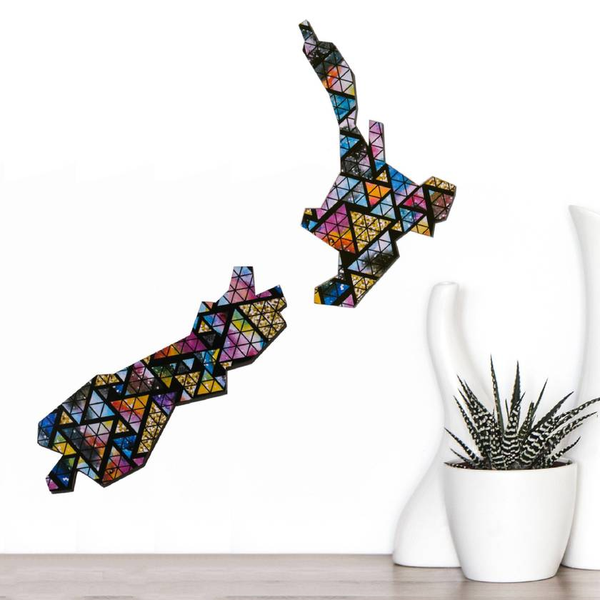 Abstract Wall Art Map of New Zealand in  Stained Glass Sunset pattern