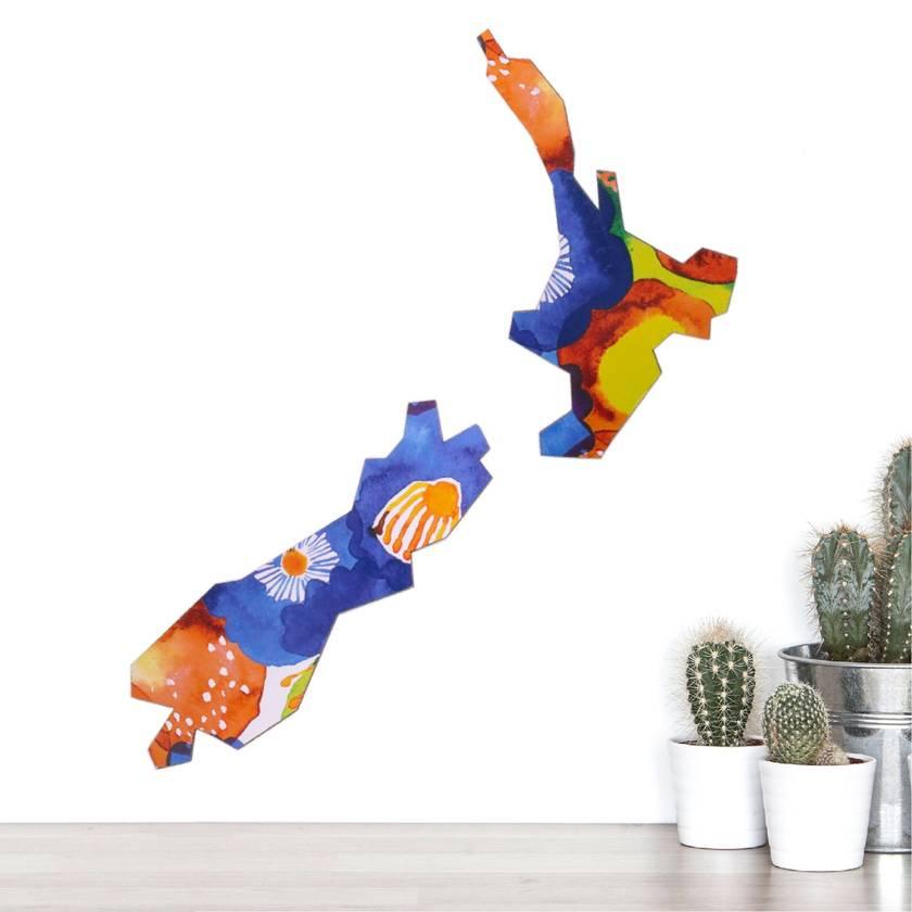 Map of New Zealand Wall Art - Midsummer Field abstract watercolour pattern