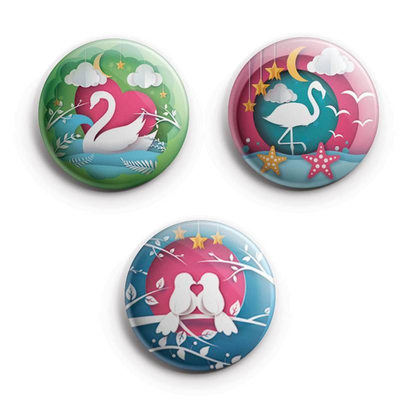 Papercut Birds, Button Magnet Set