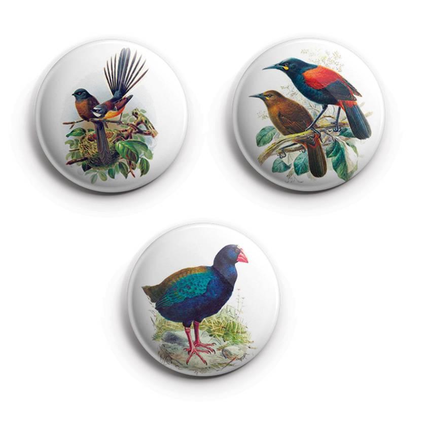Mini Button Magnets - Buller's Birds. pīwakawaka,Takahē & tīeke