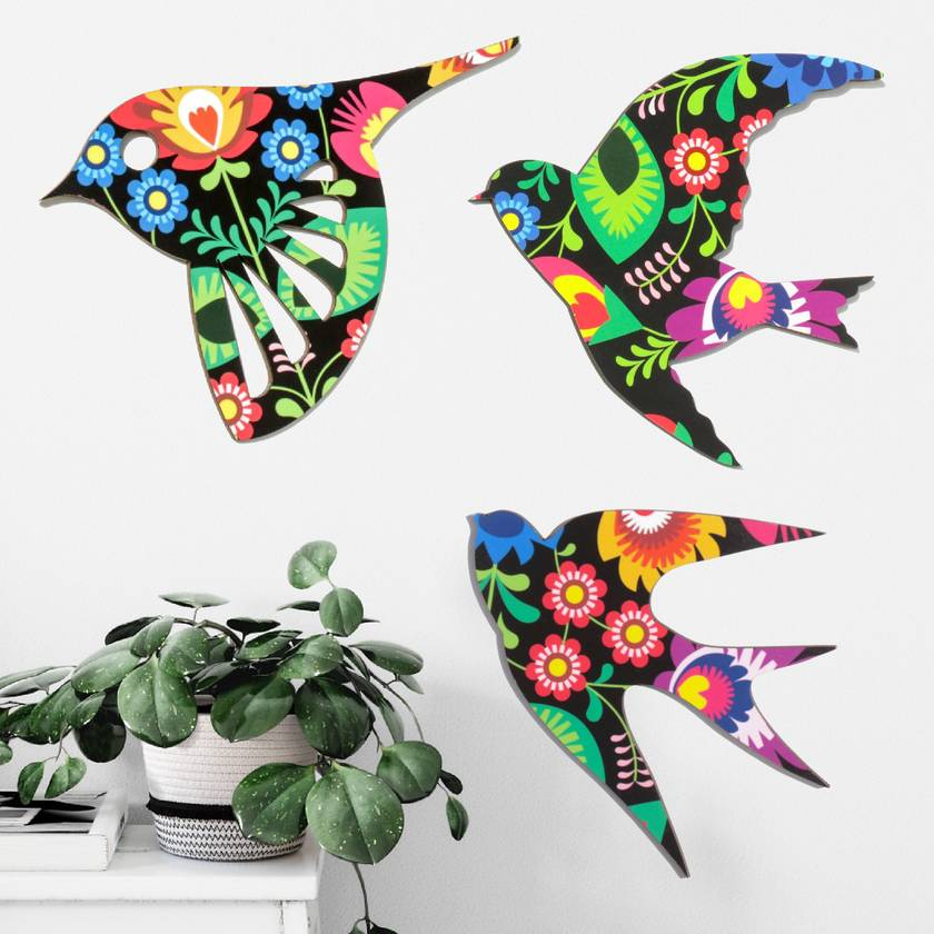 Trio of Native Birds Wall Art - Psychedelic Flowers Pattern