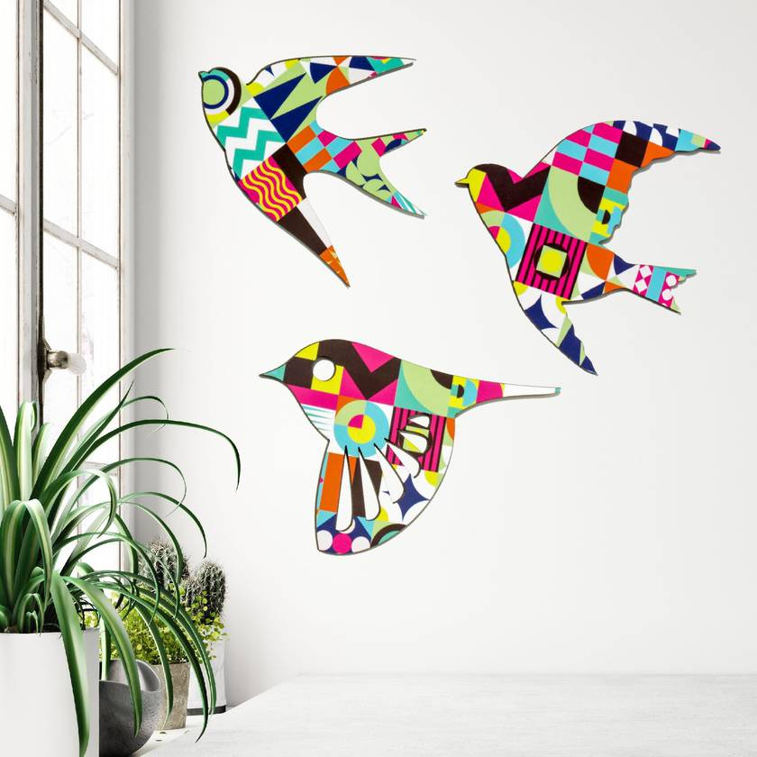 NZ Native Birds Wall Art Set  - Decor Nights Pattern