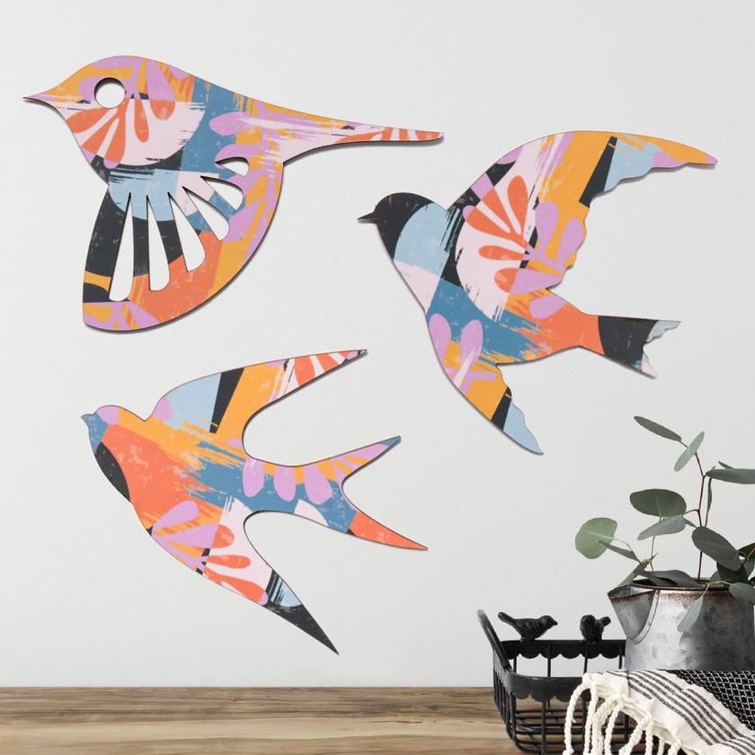 NZ native Birds Wall Art In Quartz inspired pattern   - Set of 3 flying birds