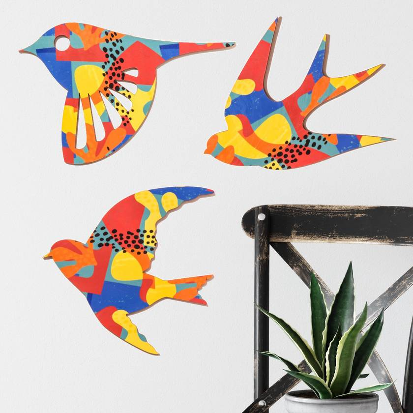 Flying Birds Wall Art Set - in Navy blue, Orange and  yellow