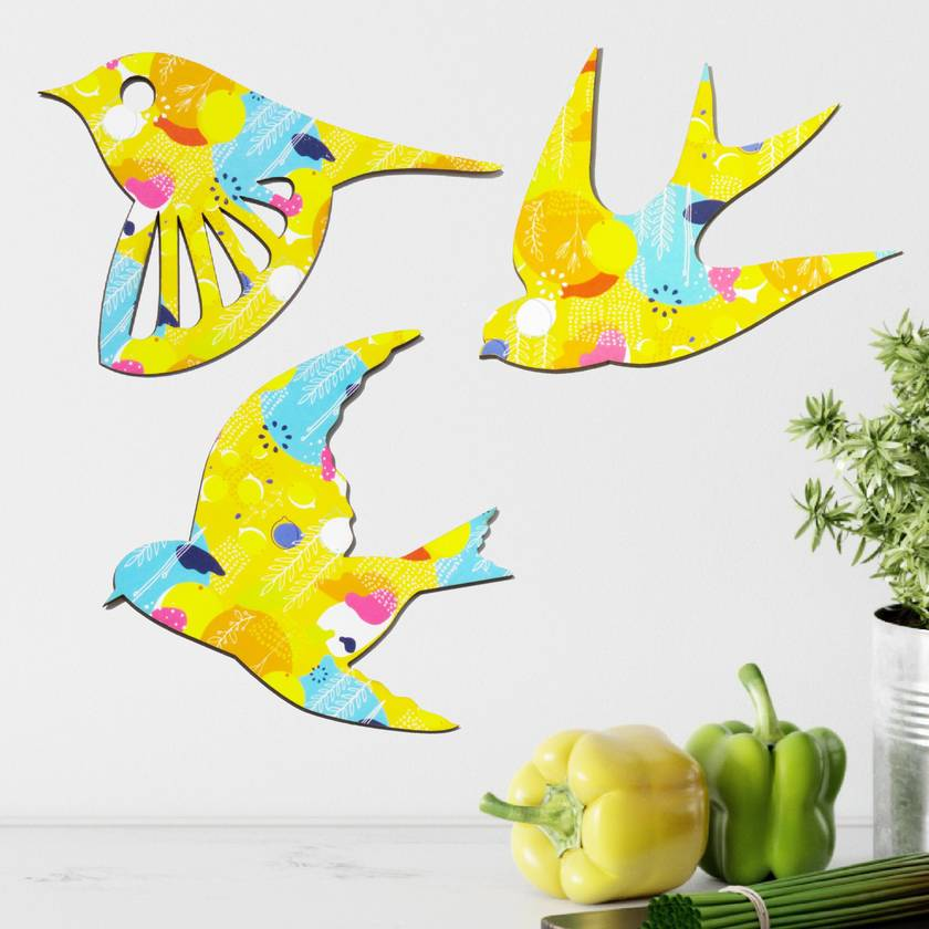 Trio of Native Birds Wall Art - Lemon Zest Pattern