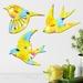 Trio of Native Birds Wall Art - Lemon Zest Pattern