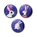 Set of 3 Illustrated bunny rabbit Button Magnets