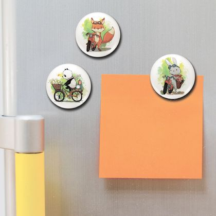 Set of 3 Illustrated Button Magnets. Bunny, Fox & Panda on 2 wheels