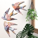 NZ Native Bird  Wall Art Set of 3 flying birds in Quartz