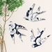 Set of 3 NZ native Birds in Navy Florence Broadhurst pattern