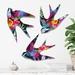 Firework Garden  Wall Art  - Set of 3 NZ Native birds