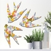 NZ Native Bird  Wall Art Set of 3 flying birds in Art Deco Greenhouse Pattern