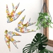 NZ Native Bird  Wall Art Set of 3 flying birds in Art Deco Greenhouse Pattern