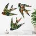 Trio of NZ Native Birds Wall Art - Midnight Tropics  Pattern