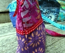 Purple and pink batik small pouch or wristlet
