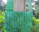 Green batik fabric cross body messenger bag