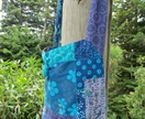 Aqua and purple batik Bohemian shoulder bag or messanger bag