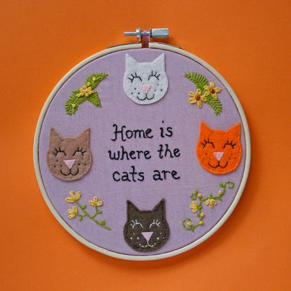 Embroidery Hoop Wall Art - Home Is Where The Cats Are