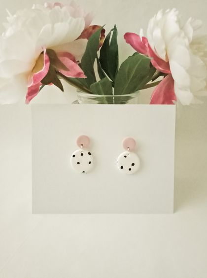 Blush and White Polymer Clay Earrings