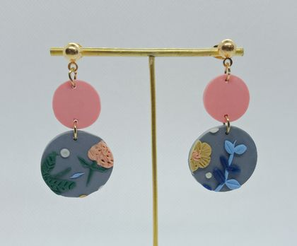 """Limited Edition"" Pink and Grey Floral Polymer Clay Earrings"