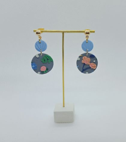 """Limited Edition"" Blue and Grey Floral Polymer Clay Earrings"