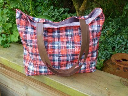 Grunge Red Tote - Eco Canvas -  Leather Strap