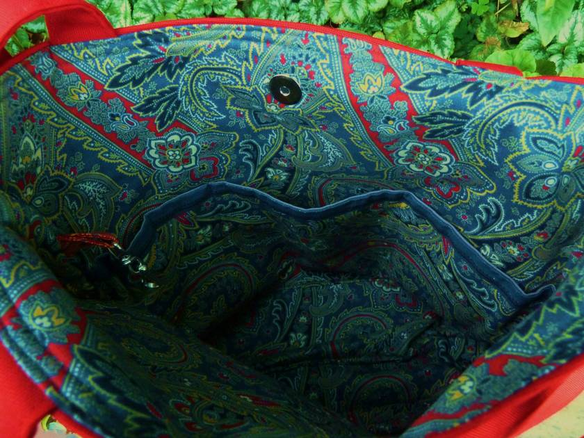 Red and Grey Paisley Tote