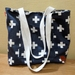 Navy&White Cross -  Cotton Tote/shoulderbag
